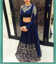 BOLLYWOOD DESIGNER BLUE UNSTITCHED LEHENGA CHOLI