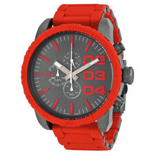 Diesel Double Down Chronograph Gunmetal Dial Red Silicone Mens Watch DZ4289