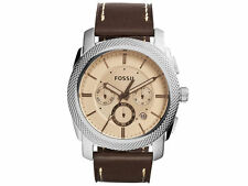 Fossil Men's Machine Chronograph Dark Brown Leather Watch FS5170