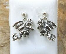 Sterling Silver Standing Dragon Stud Earrings on 4mm Ball Posts - 1673
