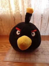 "Angry Birds Black Bomber Bird Plush Stuffed Animal 8"" With Sound 2010"