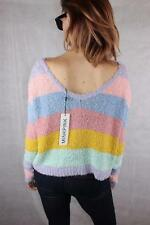 MINKPINK Retro FUZZY KNIT Pastel STRIPED SLOUCH JUMPER S / 10 New Rad