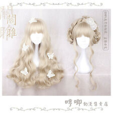Sweet Lolita Harajuku Vintage Japanese Fashion Gold Curly Princess Cosplay Wig#6