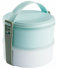 2 Compartment Lunch Box Blue & White Dishwasher & Microwave Safe