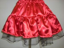 bright red shiny satin tutu mini skirt 10 12 14 16 18 20 22 24 26 28 30 32 34