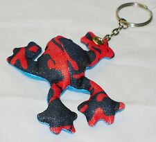 NEW SAND CRITTER BEANIE TOY BLUE AND RED PATTERNED FROG KEYRING PKF1