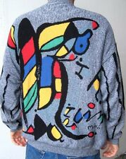 Vtg 80s Joan Miro Art Painting Surrealist Sweater 80s mens XL grey yellow red