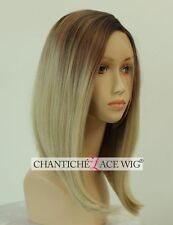 Ombre Blonde Short Bob Synthetic Front Lace Wigs Straight Full Wig Heat Good UK