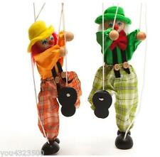 Pull String Puppet Clown Wooden Marionette Toy Joint Activity Doll Vintage Child