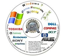Windows 7 Home Premium 32 & 64-Bit Re Install Repair Recovery Boot DVD Disc Disk