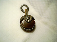 Estate Antique Art Deco Filigree Style Brown Handmade Pendant or Pin