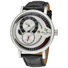 Lucien Piccard Supernova Regulator Auto Black Genuine Leather Silver-Tone Dial