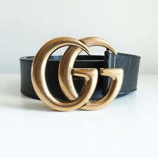 100% authentic GUCCI 'leather belt with double G buckle' black gold marmont 95