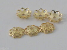 6 COPPETTE COPRIPIETRA IN ARGENTO 925 PLACCATO  ORO GIALLO DI 4 MM MADE IN ITALY