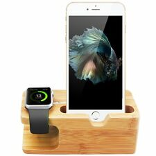 Natural Bamboo Wood Charger Dock Stand Holder For Apple Watch & Apple iPhone UK