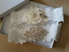 Wedding garter, Bridal Garter Set - CRYSTAL OFF WHITE IVORY Wedding Garter Set