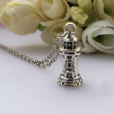 Retro Tibetan Silver 3D Lighthouse Charm Necklace NEW