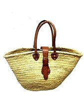 Moroccan Straw & Leather French Market Basket Beach Bag Shopping Tote