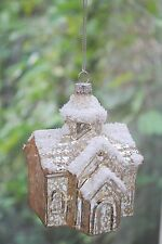 GLASS Christmas Tree BAUBLE Ornament Decoration CHURCH Crackle finish snow