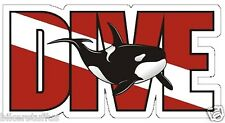DIVE KILLER WHALE ORCA SCUBA DIVER DOWN FLAG BUMPER STICKER TOOL BOX STICKER