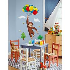 CURIOUS GEORGE wall stickers MURAL 10 decals monkey balloons party decorations