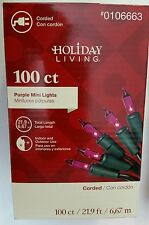 Holiday Living 100 ct Purple mini lights Party Valentine's Day Halloween 21' NEW
