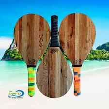 One Frescobol Paddle, Reclaimed Tobacco Barn Wood racket, black Grip
