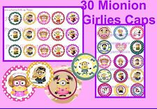 30 Precut Girl Minions Fancy Bottle Cap Images For Bows Cup Cakes & Jewelry