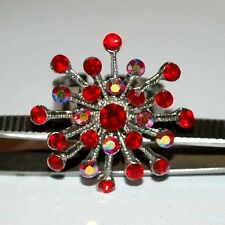RED & RAINBOW COLOR MAN MADE STONES FLOWER LADIES FASHION RING ADJUSTABLE SIZE