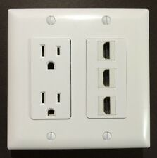 HDTV Wall Plate Power Outlet 125V 15A 3x HDMI 1.4  F/F Coupler White Decora