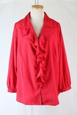 ROAMAN'S Blouse Plus Size 18W Red Ruffle Button Front V Neck Collar Long Sleeve
