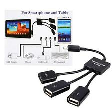 Dual Micro USB 2.0 Host OTG Hub Adapter Cable 3 in 1 Male to Female For Samsung