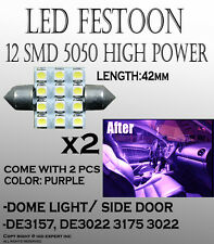 ABL 2x Purple 42mm 211-2 578 560 194 12-SMD LED Interior Bulbs For Dome Light #7