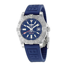 Breitling Avenger II GMT Blue Dial Blue Rubber Automatic Mens Watch