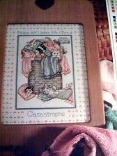 CROSS STITCH PATTERN CHART ~ room for catastrophe, cats in laundry