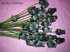 50 Black ( Colour No.41) Wooden Roses  - Artificial Flowers