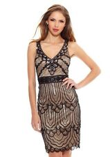 NEW SUE WONG BLACK NUDE BEADED SHORT FORMAL PARTY COCKTAIL EVENING DRESS SIZE 8