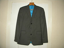 MEN'S GREY PIN STRIPE, NEXT, WOOL TROUSER SUIT, SIZE 38R, TROUSER 32S