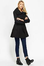 Women Branded Winter Jacket Belt Pop Button Cream Black Blue Trench Kashmir Coat