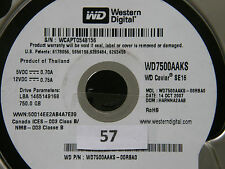 750 GB Western Digital WD7500AAKS-00RBA0 / HARNNA2AAB / OCT 2007 Hard Disk #07