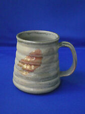 Rustic Ribbed Studio Art Pottery Mug Tankard Signed BNh