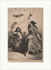 Spanische Zigeunerinnen Holzstich Tanz Kastagnetten Fledermaus Tamburin  P 0243