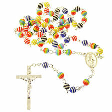Rosary beads necklace 6mm multicoloured rainbow acrylic resin Catholic striped