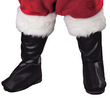 SANTA CLAUS DELUXE PLEATHER BOOT COVERS TOPS CHRISTMAS COSTUME FW7535