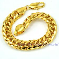 "3pcs Wholesale 7.9""11mm34g REAL MEN 18K YELLOW GOLD GP BRACELET SOLID FILL CHAIN"