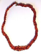 "22"" Natural Baltic Amber Cognac Color Disc Shaped Graduated Beaded Necklace"