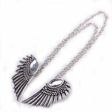 Punk Angel Wing Dangle Collar Chain Tip Brooch Pin with Crystal Rhinestones FK