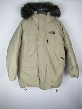 Mens The NORTH FACE Beige Color Fur Hooded McMurdo parka Size Large