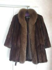 Ladies Dark Brown Mink Fur Jacket with Fox Collar Winter Coat Large PAPPAS FURS