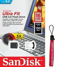 SanDisk 16GB USB SD CZ43 Cruzer Ultra Fit 16G USB 3.0 130MB/s SDCZ43-016G +Lanya